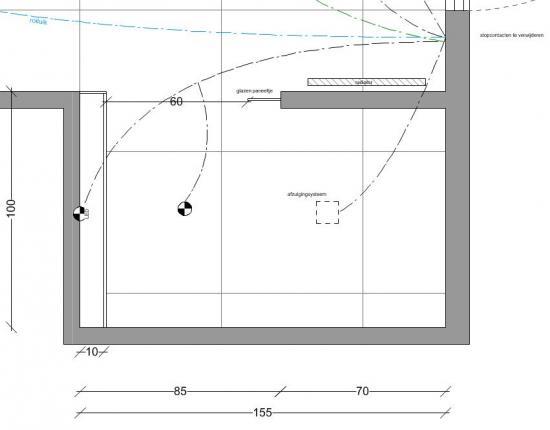 Afmetingen inloopdouche lengte glazen wand bouwinfo for Grondplan badkamer