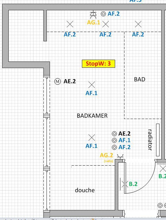 locatie schakelaar en radio in badkamer | Bouwinfo