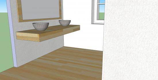 Badkamer Muur Bouwen : Dik werkblad laten zweven in de badkamer bouwinfo